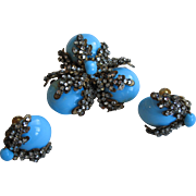 Divine Early MIRIAM HASKELL Faux Turquoise & Rhinestone Brooch Earrings