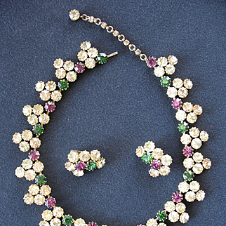 Majestic Signed AUSTRIA Rhinestone Necklace & Earrings - Extraordinary Colors!