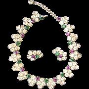 Majestic Signed AUSTRIA Rhinestone Necklace & Earrings - Extraordinary Colors!