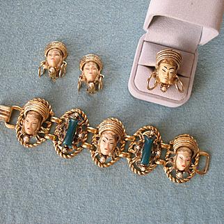 Outstanding Vintage 1950s SELRO (aka SELINI) Asian Princess Bracelet Earrings and Ring (Rare)