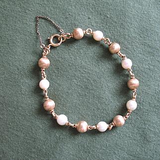 Elegant Feminine 14K Gold Bead & Cultured Pearl Bracelet