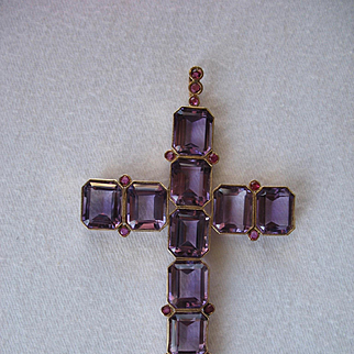"""Beautiful Large (3 1/2"""") Genuine AMETHYST CROSS in 14K Yellow Gold - Ruby Accents"""
