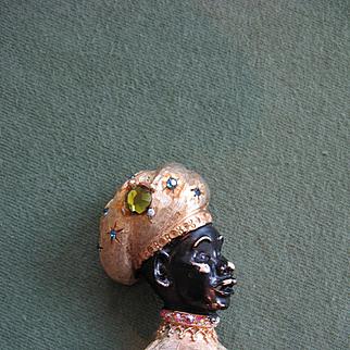 Rare & Collectible Vintage HAR Blackamoor Sultan Brooch Pin - Black Enamel on Goldtone