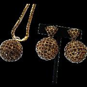 Spectacular SCHIAPARELLI Amber Brown Rhinestone Diamante' Ball Drop Necklace Earrings