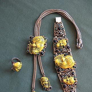 Exceptional Vintage SELRO Yellow Noh Mask (Devil) Parure - Necklace, Bracelet, Ring