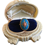 12K Gold VICTORIAN Robins' Egg Blue Enamel & Angel Skin Coral Ring w/ Diamond Accents Sz 7 1/2