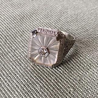 Elegant Rare 14K White Gold Art Deco ROCK CRYSTAL (Crystal Quartz) Ring w/ Diamond