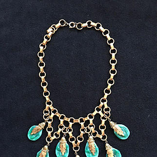 Fabulous Vintage MIRIAM HASKELL Green Glass Nugget Necklace