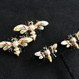 "Rare & Wonderful CORO DUETTE ""Queen Bees"" Brooch Fur Clips Earrings 1942"