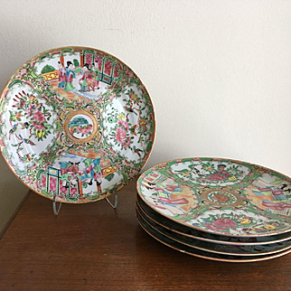 """Lot of 5 - Antique Chinese Porcelain ROSE MEDALLION Plates 8 1/2"""" - 19th C"""