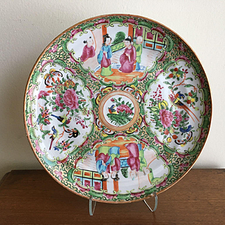 """Antique Chinese Porcelain ROSE MEDALLION Large Plate (Charger) 9 1/2"""" - 19th C"""