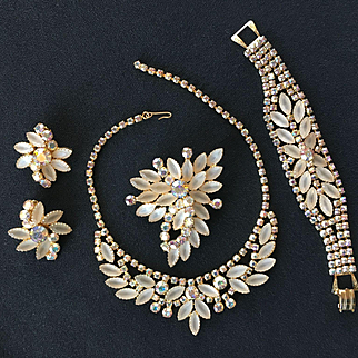 Divine D&E JULIANA Parure Frosted White Navettes w/ AB Trim - Necklace Bracelet Brooch Earrings