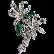 Divine Rare 1941 TRIFARI Crystal Rhinestone Flower Bouquet Brooch Des. by Alfred Spaney - Book Pc.