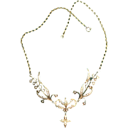 Elegant Victorian Edwardian 14K Yellow Gold LAVALIER Necklace  w/Seed Pearls - Tres Belle Epoque
