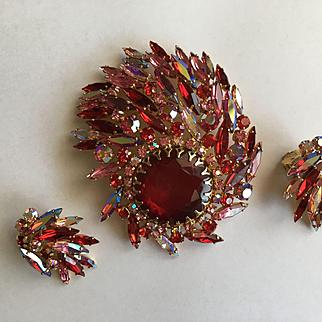 Dazzling SHERMAN Siam Red & Pin AB Rhinestone Brooch Earrings Set