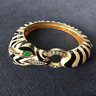Rare & Majestic Signed CINER Cream & Black Enamel Zebra Hinged Bangle Bracelet