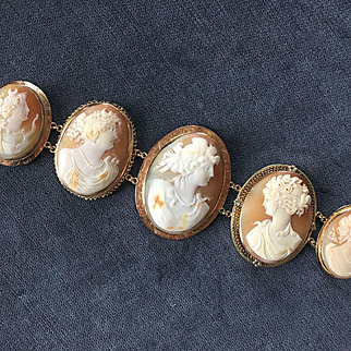 Majestic Victorian Huge SHELL CAMEO BRACELET 14K Yellow Gold
