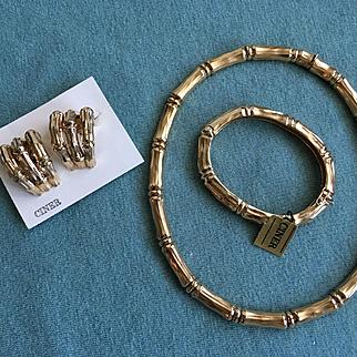 "Glorious Rare Parure - Vintage CINER ""Bamboo"" Goldtone Necklace Bracelet Earrings"