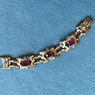Glorious Vintage MCCLELLAND BARCLAY Art Deco Red Rhinestone / Goldtone Bracelet