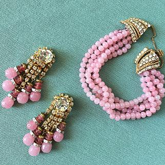 Vintage CINER Crystal Rhinestone & Pink Glass Bead Bracelet Earrings