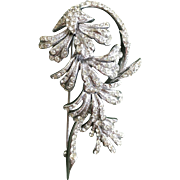Unique & Rare Signed Numbered BOUCHER Crystal Rhinestone Brooch Dangly Floral Design