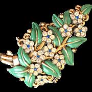 Marvelous Vintage Alfred Philippe for TRIFARI 1940s Floral Enamel Fur Clip