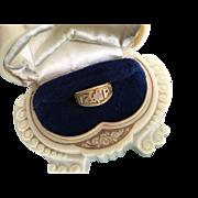 Divine Victorian 18K Gold MIZPAH Ring w/ Diamond Circa 1900 Sz 5 1/4