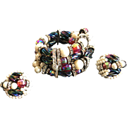 Breathtaking Large HOBE Memory Wrap Bracelet & Clip Earrings - Vibrant Colors