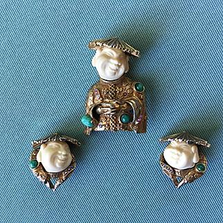 Vintage HAR Laughing Buddha / Smiling Chinaman Brooch Earrings w/ Sim. Jade & Rhinestones