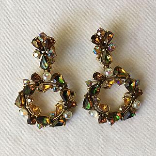 "Large (3"") Majestic Dangle Hoop SCHIAPARELLI Earrings - Topaz Brown Green & Pearl"