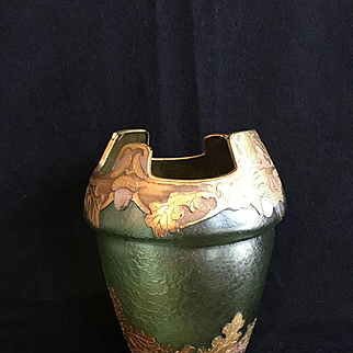 Beautiful French Cameo Glass Vase MONT JOYE by Legras ca. 1900 Oak Leaves Acorns - Art Nouveau