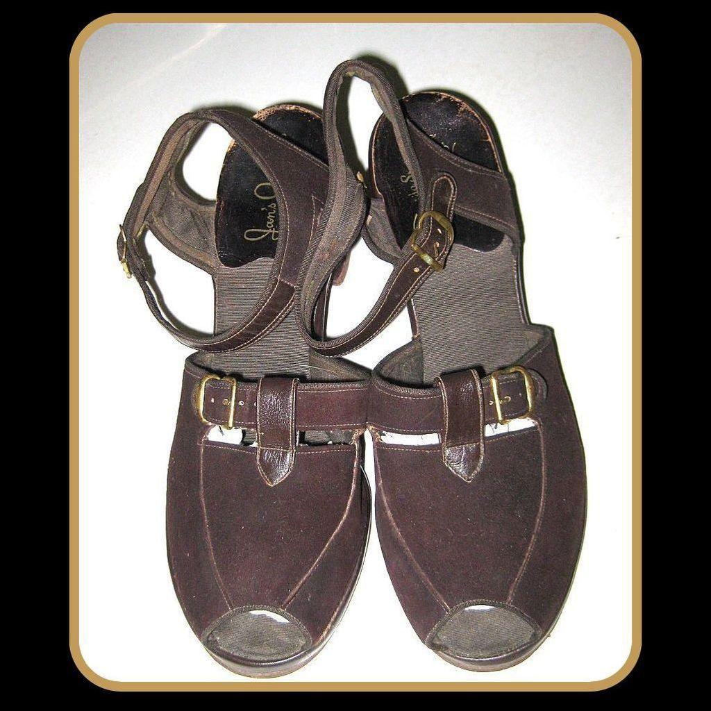 Vintage 40's Shoes Peep Toe, Sling Back Heels, Jitterbug