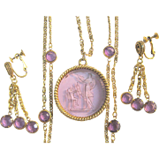 Goldette Intaglio Necklace & Earrings