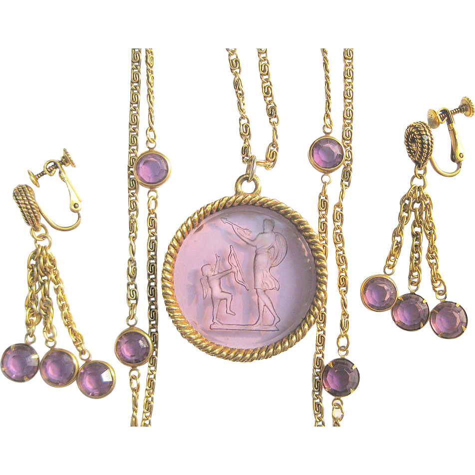 Goldette intaglio necklace earrings from lakegirlvintage for Best place to sell gold jewelry in chicago