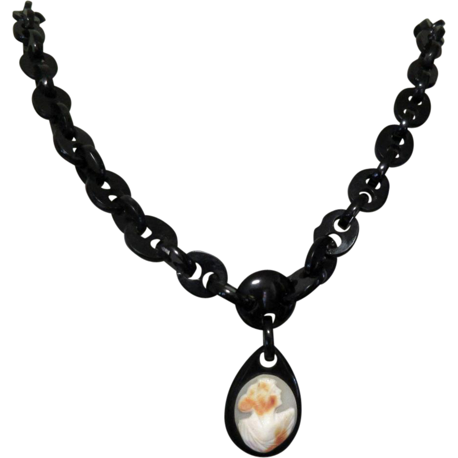 Whitby Jet Cameo Necklace, Victorian Mourning Jewelry