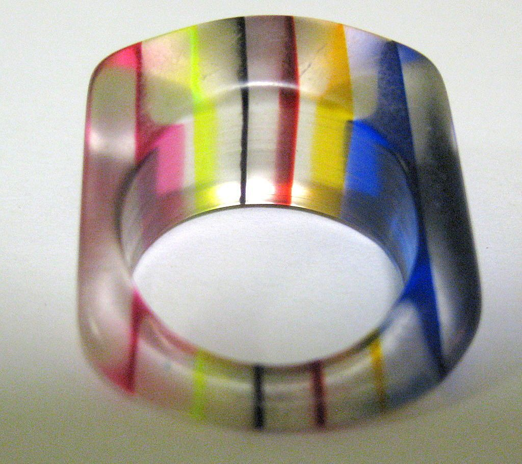 Vintage 60's Lucite Rainbow Ring