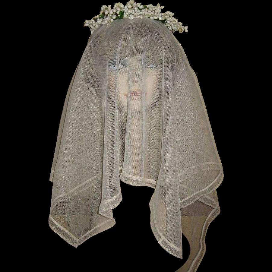 Vintage Wedding Dresses Chicago: Authentic, Vintage 20's Wedding Veil, Headpiece Garter