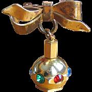 Rhinestone Perfume Pendant Brooch, Vintage