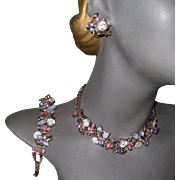 Rhinestone Necklace, Bracelet, Earrings, D & E Juliana