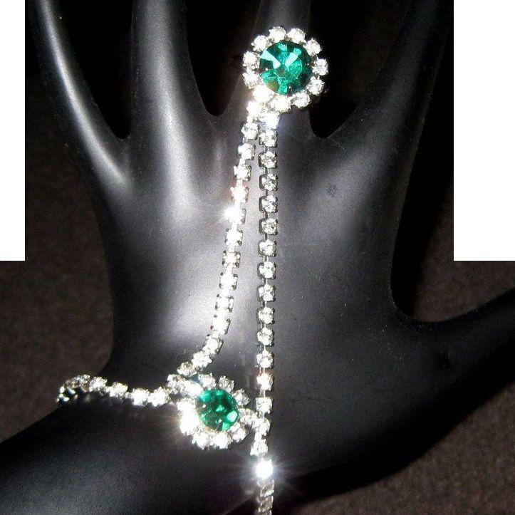 Rhinestone Slave Ring & Bracelet, Vintage 1960's