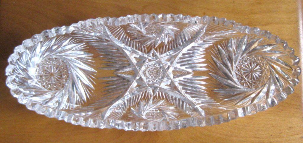 Cut Glass / Crystal Celery Dish, American Brilliant Period