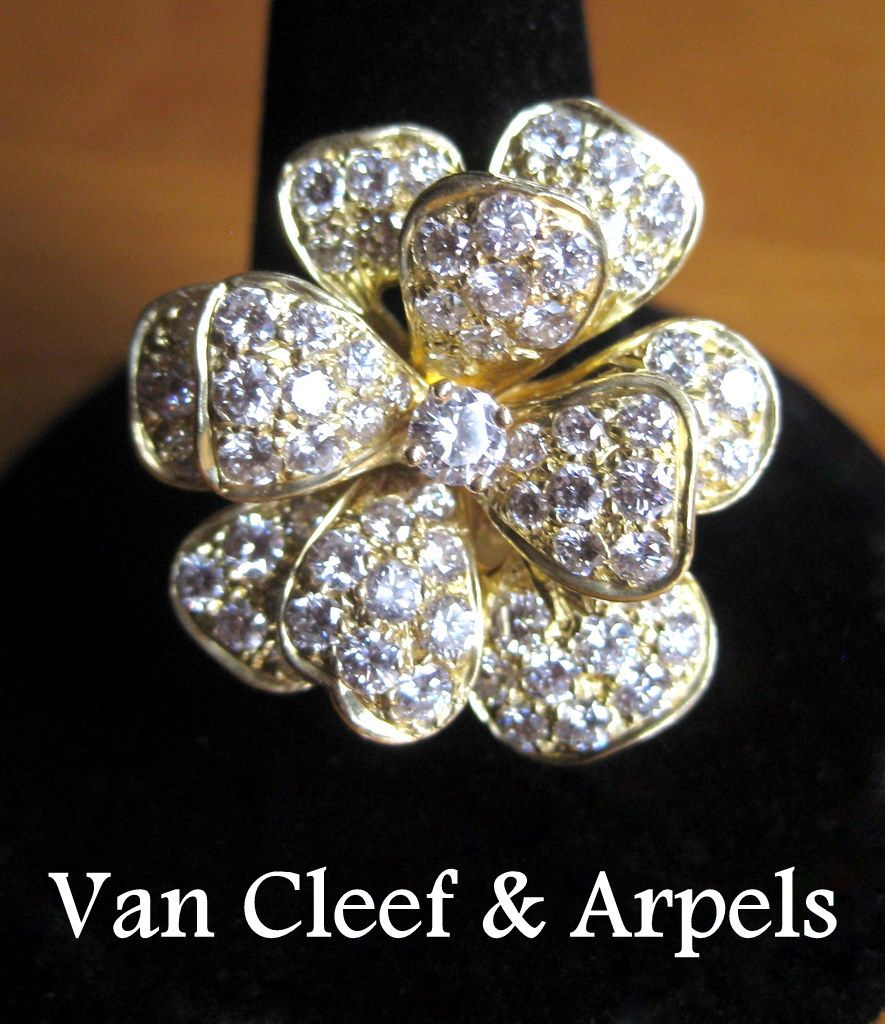 van cleef arpels ring 18k gold 3cts diamonds margarite from lakegirlvintage on ruby lane. Black Bedroom Furniture Sets. Home Design Ideas