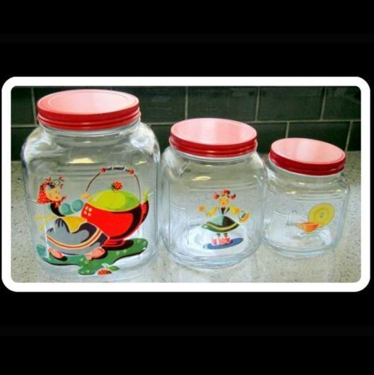 Glass Canister Set, 1940's Art Deco