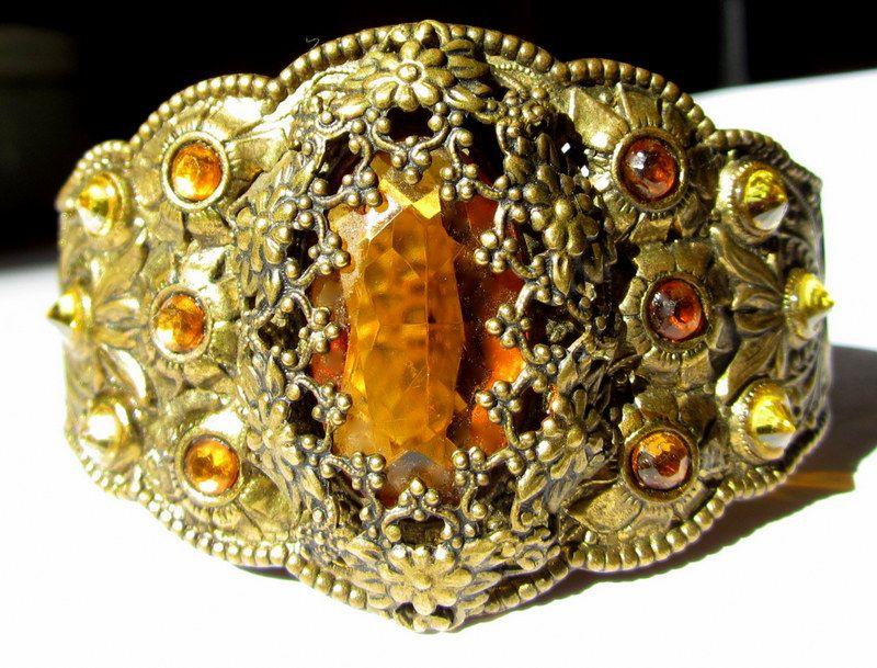 Vintage Rhinestone 30's Art Nouveau Revival Bracelet