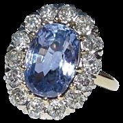Sapphire & Diamond Halo Ring,  Platinum, 14K, Antique Engagement