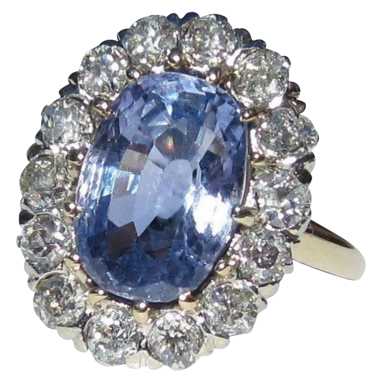 Sapphire & Diamond Halo Ring,  Platinum, 14K, Antique Engagement