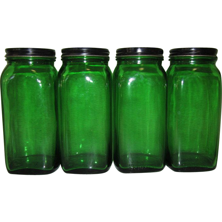 Duraglass Owens Illinois Canister Set, Glass Hoosier Jars, 4