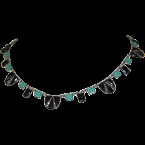 Art Deco Necklace, Sterling, Marcasite, Art Glass
