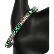 Art Deco Green Crystal Bracelet, Channel Set Square Paste, Sterling 20's