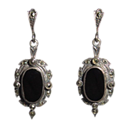 Sterling, Onyx & Marcasite Earrings, Art Deco